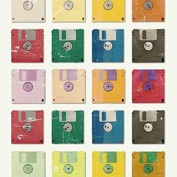 Vintage Computer Diskettes  by Illustratorial