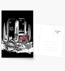 Old Fashioned Bike with Red Flowers Postcards
