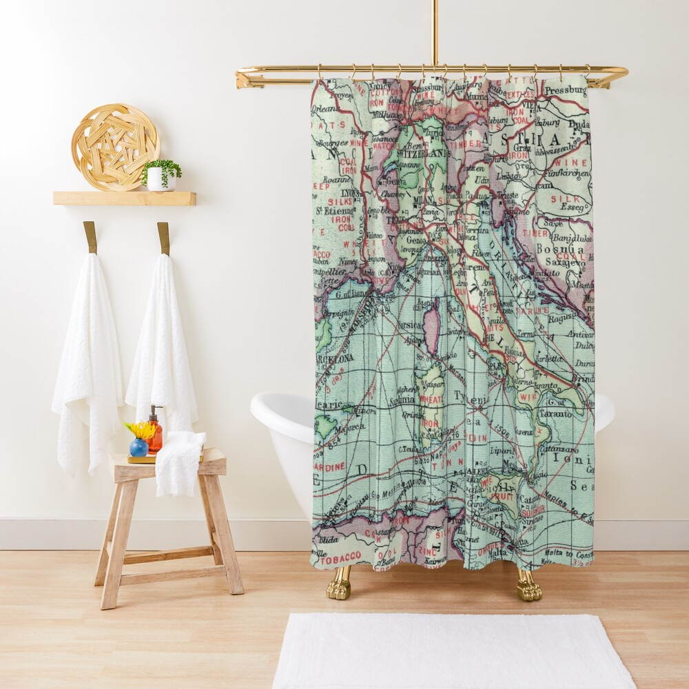 Vintage Italy Map Shower Curtain