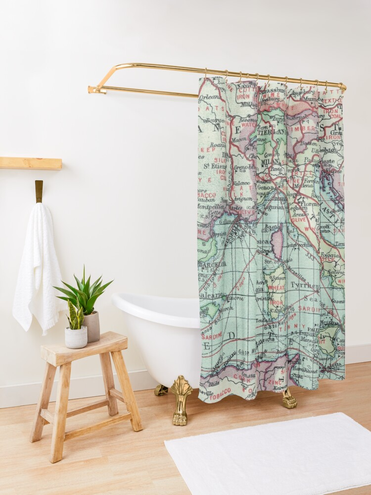 Alternate view of Vintage Italy Map Shower Curtain
