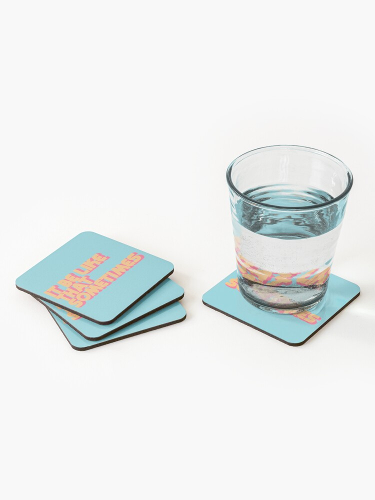 Alternate view of It Be Like That Sometimes Retro Blue Coasters (Set of 4)