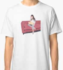 Woman Fashion sitting on couch drinking coffee working on laptop Classic T-Shirt