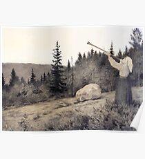 Theodor Kittelsen Op under Fjeldet toner en Lur Poster