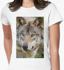 Timberwolf Portrait  Womens Fitted T-Shirt