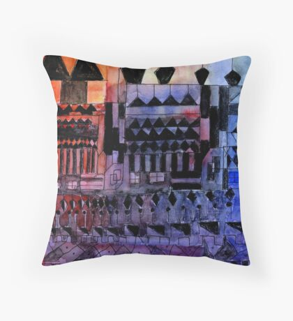 geometry in blue Throw Pillow