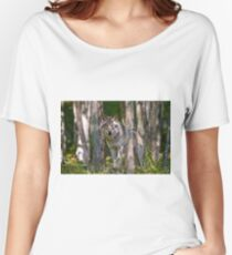 Timber wolf in Forest Women's Relaxed Fit T-Shirt