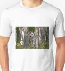 Timber wolf in Forest Unisex T-Shirt