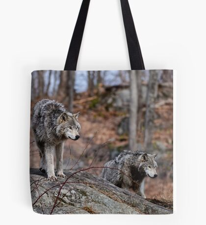 Timber Wolves on Rocks Tote Bag