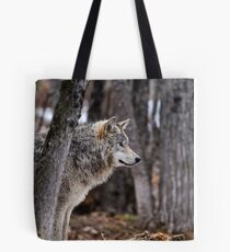 Timber Wolf in trees Tote Bag