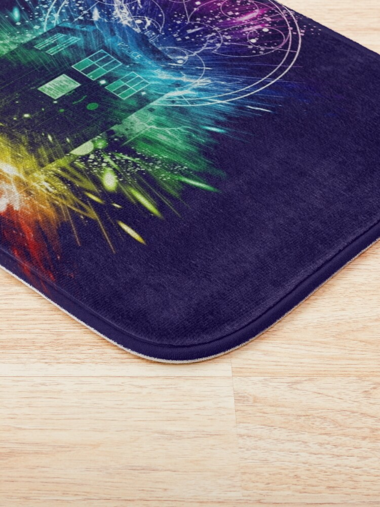 Alternate view of time storm-rainbow version Bath Mat