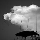 storm cloud over marina by Lynette Higgs