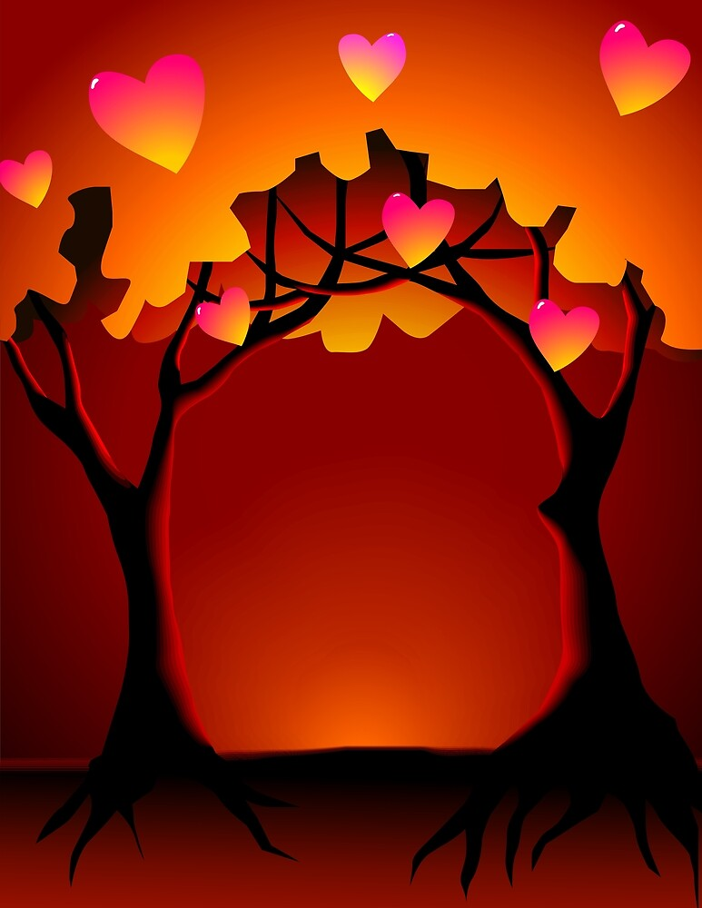 Romantic expression of the trees during sun rise by tillydesign