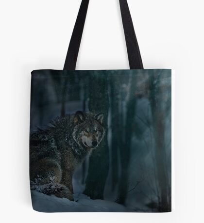 Timberwolf in Moonlight Tote Bag