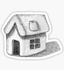 Naive Thatched House Sketch Sticker