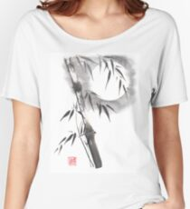 Moon blade bamboo sumi-e painting  Women's Relaxed Fit T-Shirt