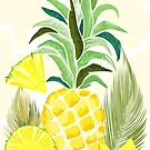 Pineapple Watercolor Fresh Summer Pattern by BluedarkArt