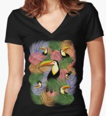 Toucans on the Jungle Exotic Summer Pattern Fitted V-Neck T-Shirt