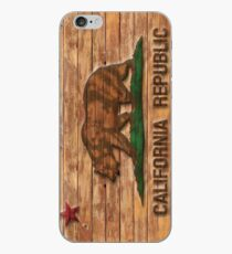 Distressed California Flag Wood Look iPhone Case