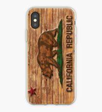 Distressed California Flag Wood Look iPhone Case