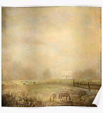 { misty morning farm } Poster