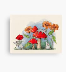 Mice with Toadstools and Flowers, Fantasy Art Canvas Print