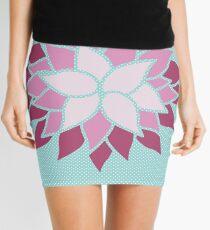 Modern Chic Baby Blue Polka Dots Flower Mini Skirt