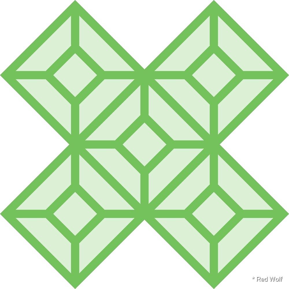 Geometric Pattern: Diamond Tile: Light Green by * Red Wolf