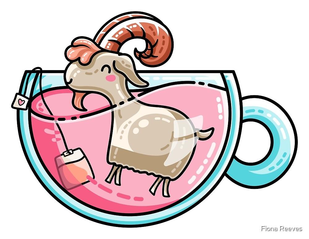 Goat-tea Kawaii Cute Tea Goatee Pun by Fiona Reeves