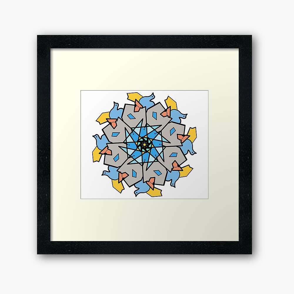 Morning Bird Mandala Framed Art Print