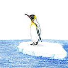 Pinguin Auf Eisbergbleistiftzeichnung von daphsam