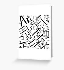 Hand drawn black alphabet. Doodle pattern of typographic symbols Greeting Card