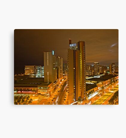 City life at night Barcalona  Canvas Print