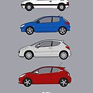 Peugeot GTI classic car collection - 205 GTI, 206 GTI, 207 GTI, 208 GTI by RJWautographics