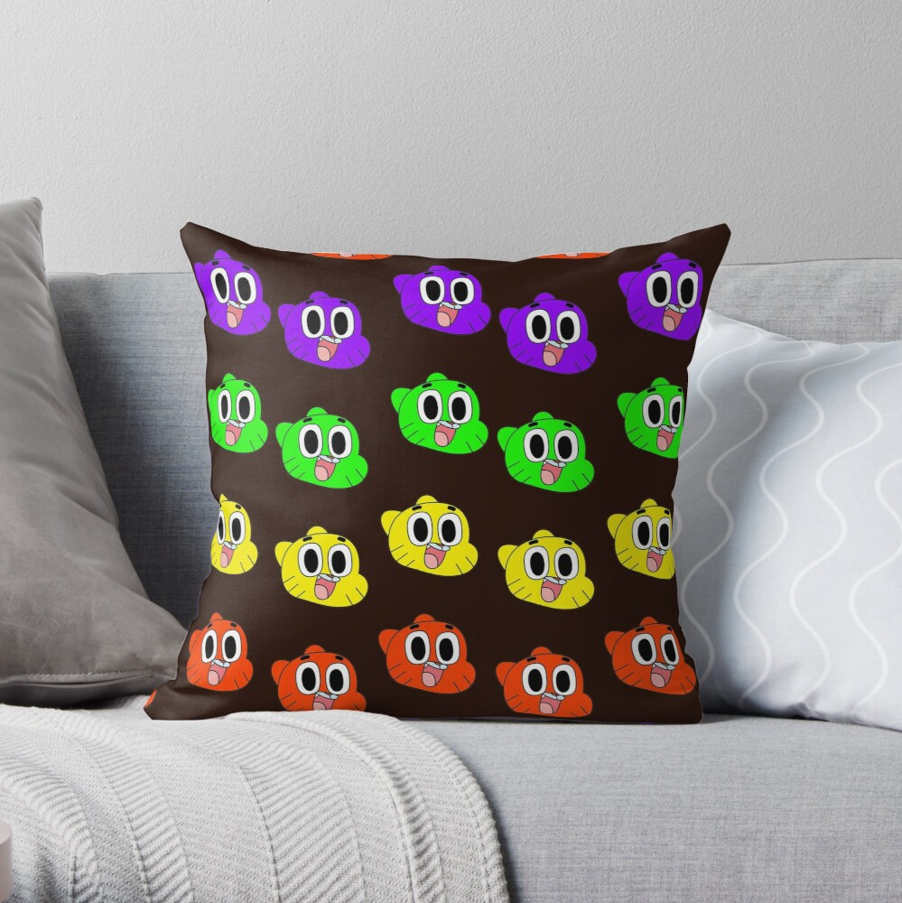 Rainbow Happy Gumball Watterson Throw Pillow