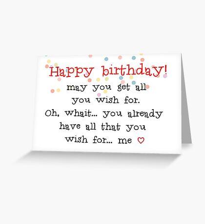 Feliz cumpleaños, Esposo, Novio, Esposa, Novia, Mejor amigo, Ideas de regalos Tarjeta de felicitación