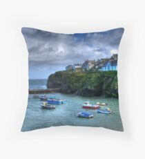 Port Isaac Harbour Cornwall Throw Pillow
