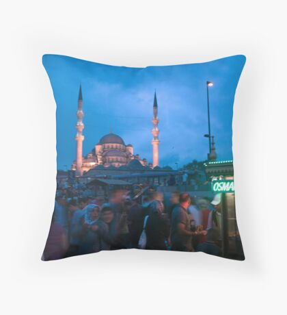 Market under the watch of the Blue Mosque Throw Pillow