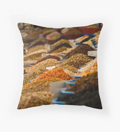 Spices in the market (Yalikavak, Turkey) Throw Pillow