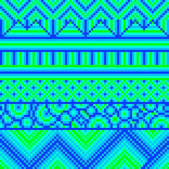 pixel mess blue green by cavia