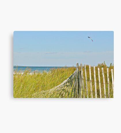 A Kite Flys Over the Sand Doons - Narragansett - RI - US Canvas Print