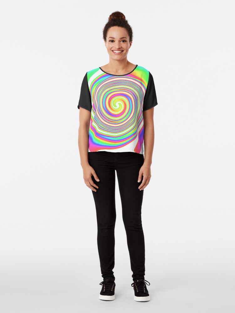 Alternate view of #vortex, #design, #spiral, #creativity, fun, illustration, shape, color image, circle, geometric shape Chiffon Top