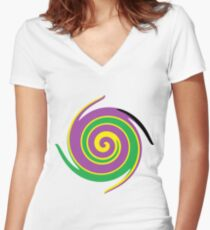 #vortex, #design, #spiral, #creativity, fun, illustration, shape, color image, circle, geometric shape Fitted V-Neck T-Shirt