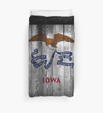 Iowa State Flag (wood look) Duvet Cover