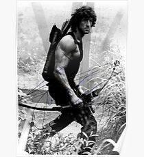Rambo Stallone Autographed Photo B/W 1980's Poster