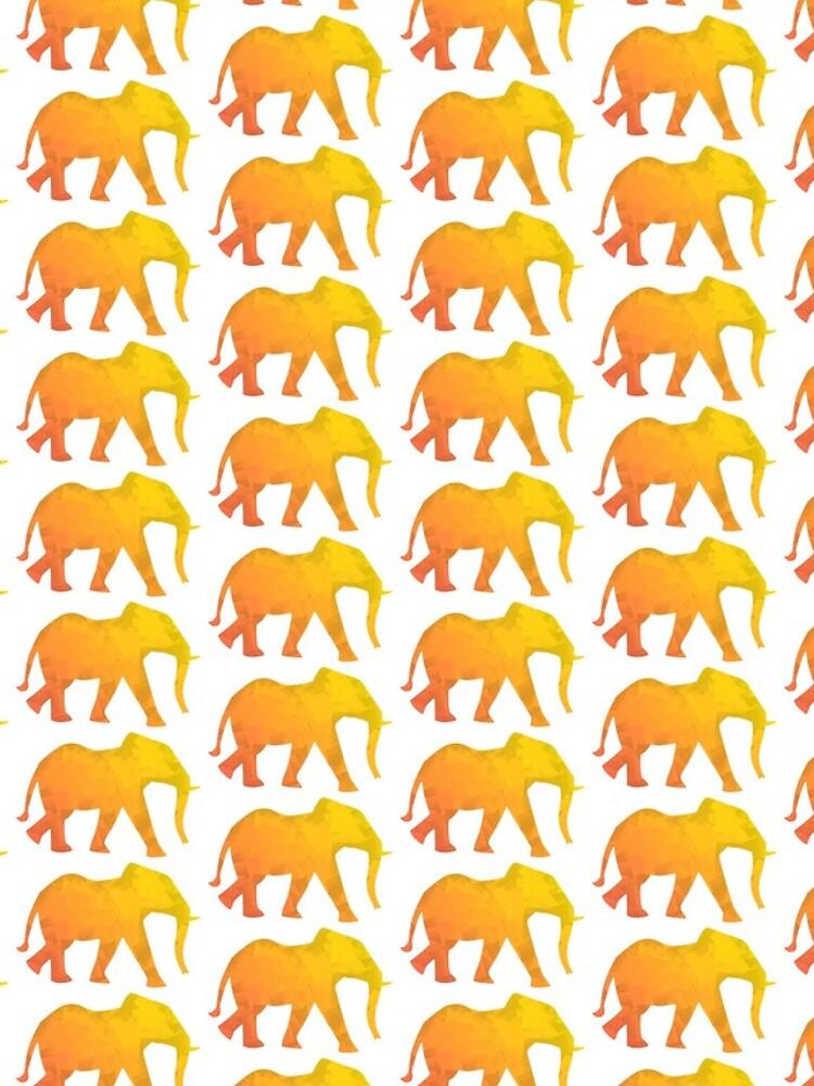 Elefant bunt, abstrakt,  kubistisch, Dickhäuter gelb und orange, kreativ von Kerraner