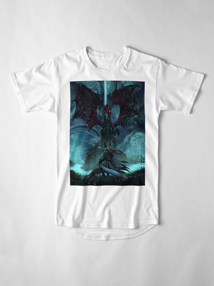 Alternate view of Death Lurks in the Light of the Darkness [Monster Hunter] Long T-Shirt