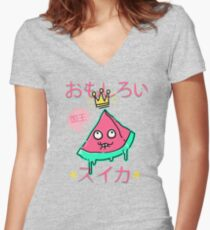 Juicy King Watermelon Fitted V-Neck T-Shirt