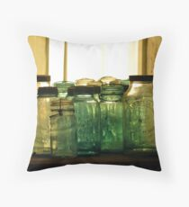 Old Glass Jars and Bottles Throw Pillow