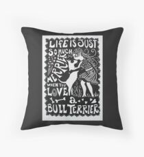 Bull Terrier Paper Cut Throw Pillow