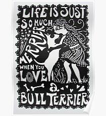 Bull Terrier Paper Cut Poster